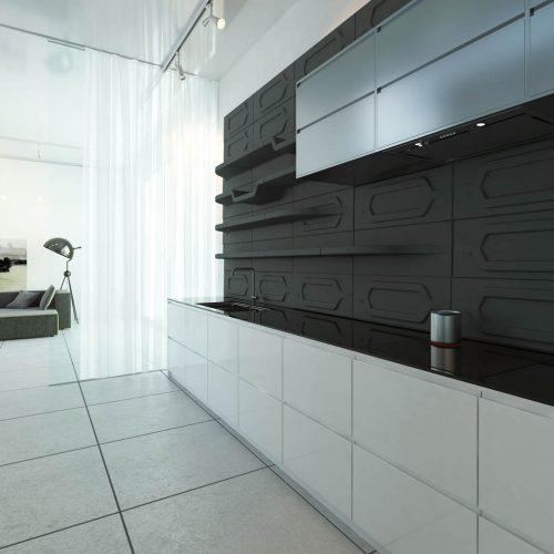 Ściana nowoczesnej kuchni