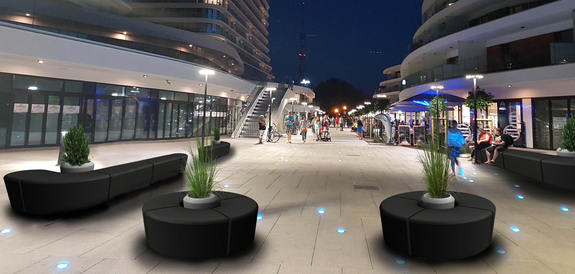 ławki modułowe miejskie meble meble do przestrzeni miejskich przestrzenie publiczne