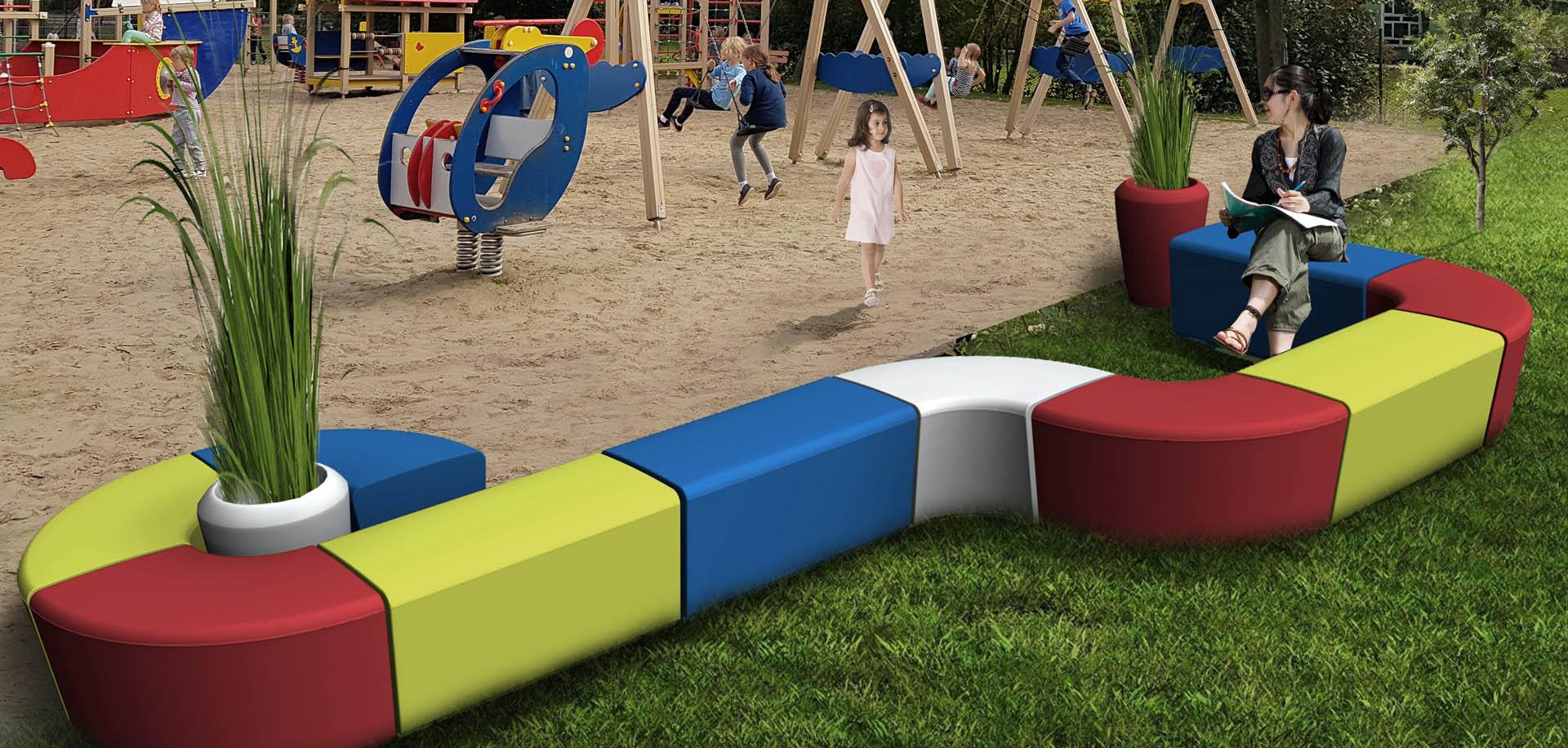 ławki modułowe -plac zabaw meble miejskie meble do przestrzeni miejskich